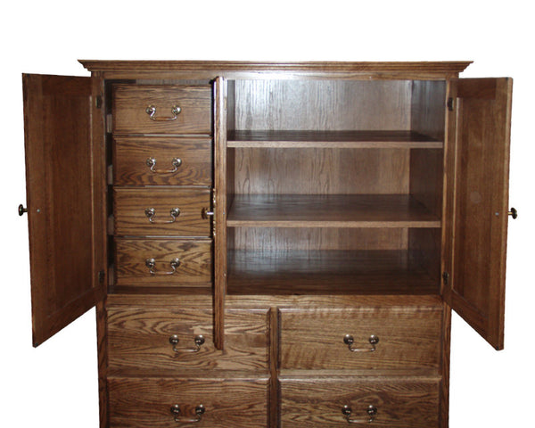 FD-3056T - Traditional Oak 10 Drawer Clothing Armoire