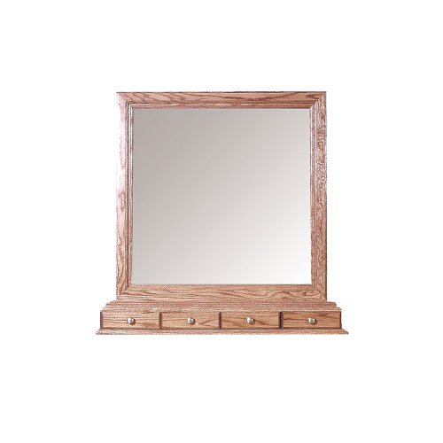 FD-3061T - Traditional Oak Mirror with 4 Small Drawers (matches the FD-3042T, 3043T, 3044T, or 3045T Dresser) - Oak For Less® Furniture