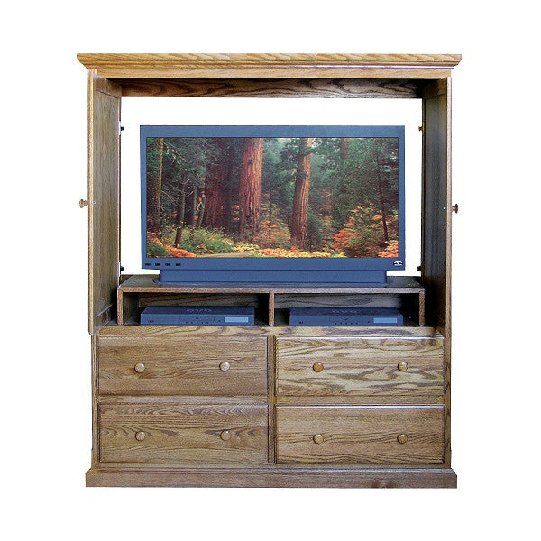 ... FD 3066T   Traditional Oak 4 Drawer TV Armoire With Doors   Oak For Less