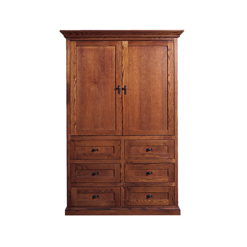 FD-3068M - Mission Oak 6 Drawer TV Armoire with Doors - Oak For Less® Furniture