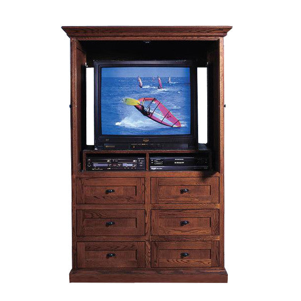 ... FD 3068M   Mission Oak 6 Drawer TV Armoire With Doors   Oak For Less