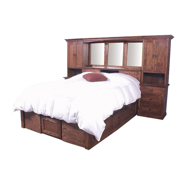 FD-3302M and FD-3022M - Mission Oak Bedroom Pier Wall with Platform Bed - E King Size - Oak For Less® Furniture