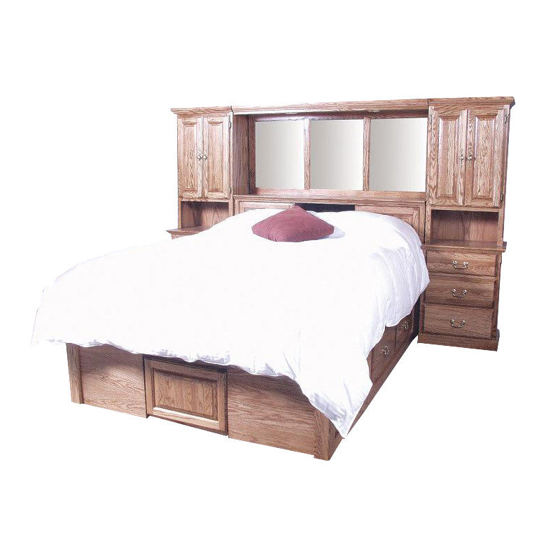 FD-3302T and FD-3023T - Traditional Oak Bedroom Pier Wall with Platform Bed - Cal King Size - Oak For Less® Furniture