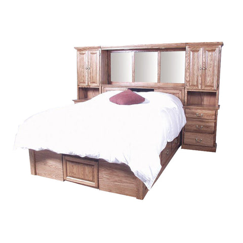 FD-3300T and FD-3021T - Traditional Oak Bedroom Pier Wall with Platform Bed - Queen Size - Oak For Less® Furniture