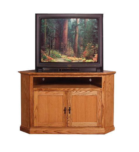 "FD-4040M-WOOD - Mission Oak 52"" Corner TV Stand with Wood Doors - Oak For Less® Furniture"