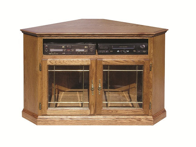 "FD-4040T-GLASS - Traditional Oak 52"" Corner TV Stand with Glass Doors"