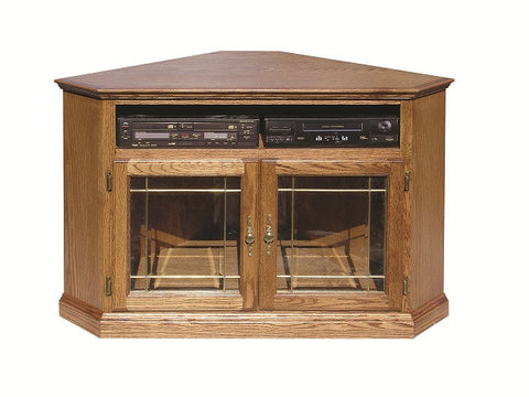 "FD-4040T-GLASS - Traditional Oak 52"" Corner TV Stand with Glass Doors - Oak For Less® Furniture"