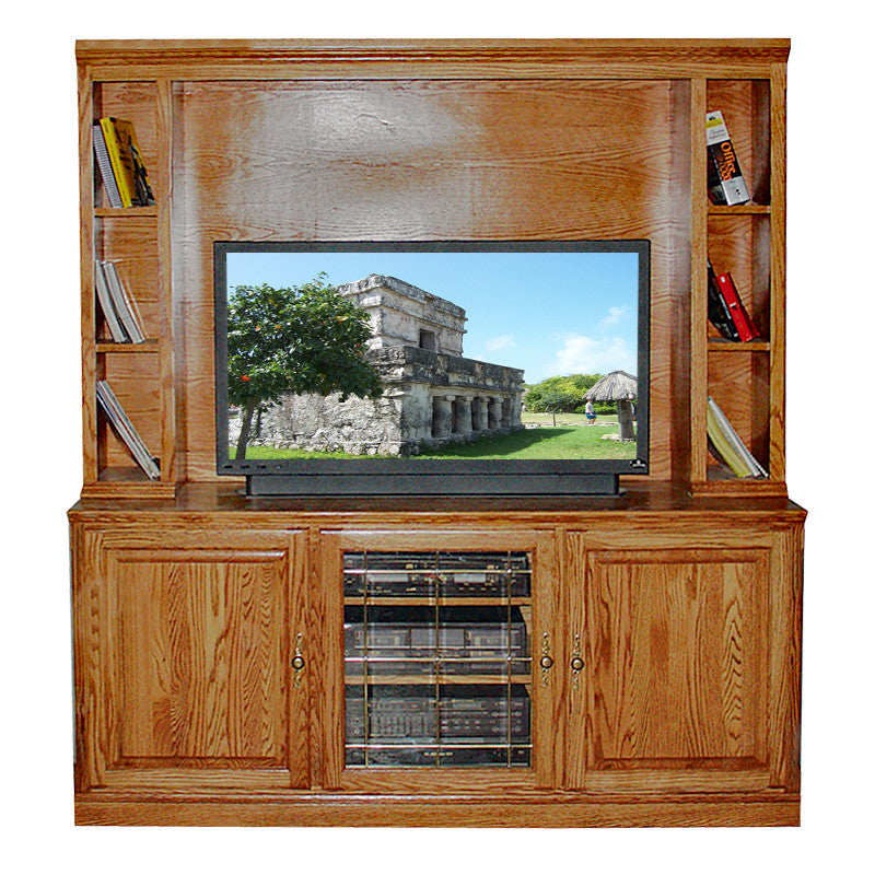 "FD-4125T and FD-4145T - Traditional Oak 67"" TV Stand with Hutch - Oak For Less® Furniture"