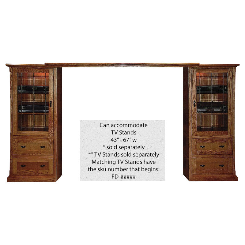 FD-4190M - Mission Oak 3 Piece Entertainment Wall Unit - Oak For Less® Furniture