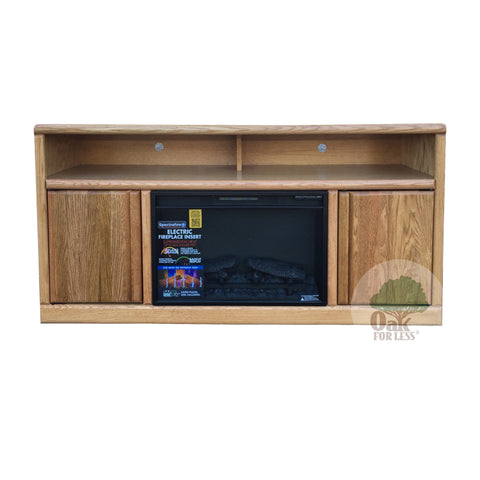 "Contemporary Oak 60"" Fireplace TV Stand - Oak For Less® Furniture"