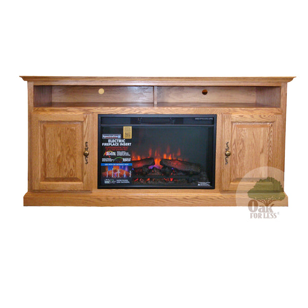"FD Traditional Oak 60"" Fireplace TV Stand - Oak For Less® Furniture"