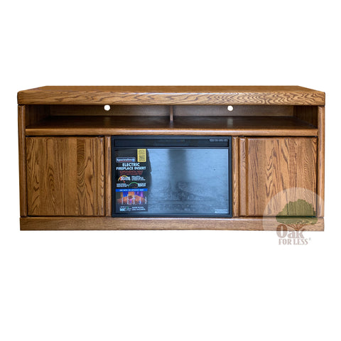 "Contemporary Oak 66"" Fireplace TV Stand - Oak For Less® Furniture"
