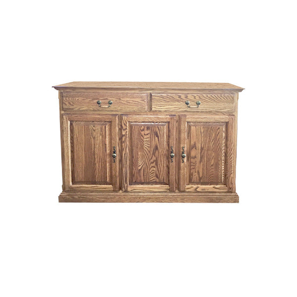 "FD-5054T-BR - Traditional Oak 54"" Buffet with Brass Hardware - Oak For Less® Furniture"