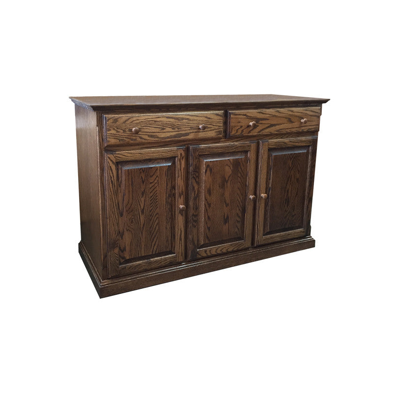 "FD-5054T-W - Traditional Oak 54"" Buffet with Wood Round Knobs - Oak For Less® Furniture"