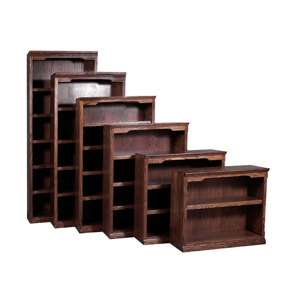 "FD-6124T - Traditional Oak Bookcase 36"" w x 13"" d x 72"" h - Oak For Less® Furniture"