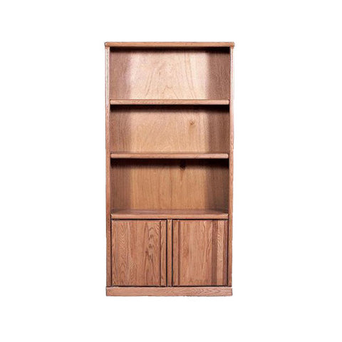 "FD-6125D - Contemporary Oak Bookcase 36"" w x 12"" d x 84"" h with Lower Doors - Oak For Less® Furniture"