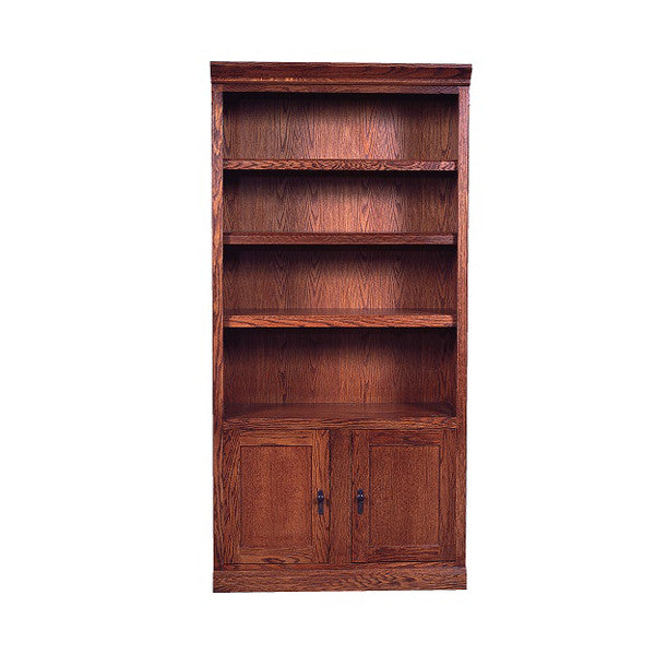"FD-6126D-M - Mission Oak Bookcase 36"" w x 13"" d x 96"" h with Lower Doors - Oak For Less® Furniture"