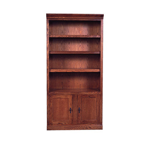 "FD-6124D-M - Mission Oak Bookcase 36"" w x 13"" d x 72"" h with Lower Doors - Oak For Less® Furniture"