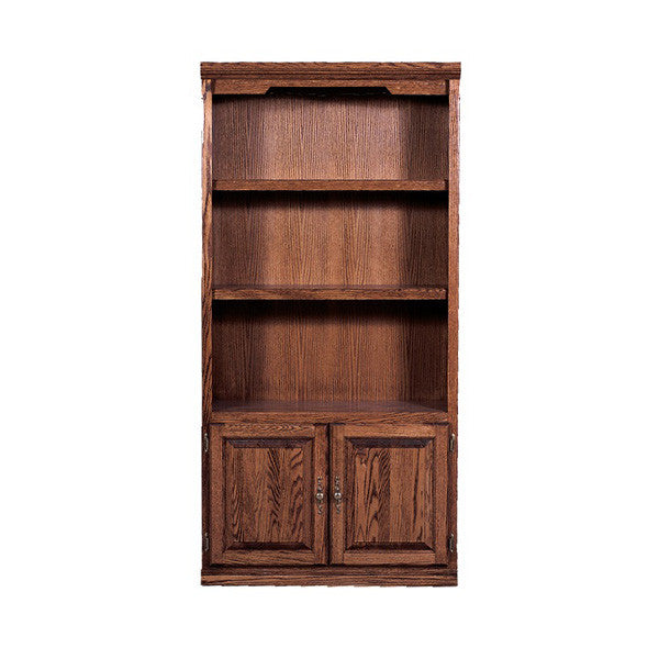 "FD-6125D-T - Traditional Oak Bookcase 36"" w x 13"" d x 84"" h with Lower Doors - Oak For Less® Furniture"