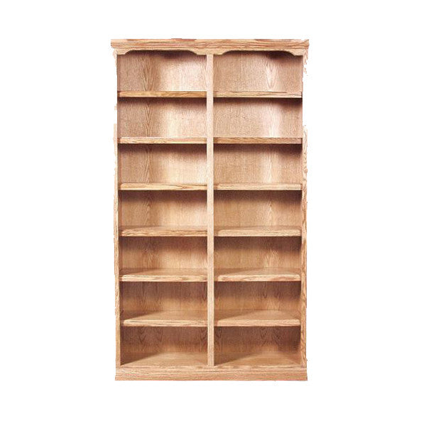 "FD-6133T - Traditional Oak Bookcase 48"" w x 13"" d x 60"" h - Oak For Less® Furniture"