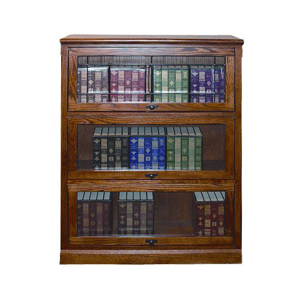 "FD-6349M - Mission Oak Lawyers Bookcase with 3 Doors - 36"" w x 13"" d x 49"" h - Oak For Less® Furniture"