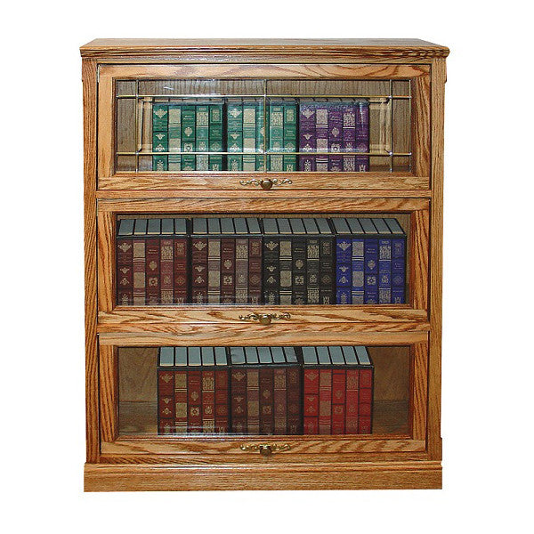 "FD-6349T - Traditional Oak Lawyers Bookcase with 3 Doors - 36"" w x 13"" d x 49"" h - Oak For Less® Furniture"