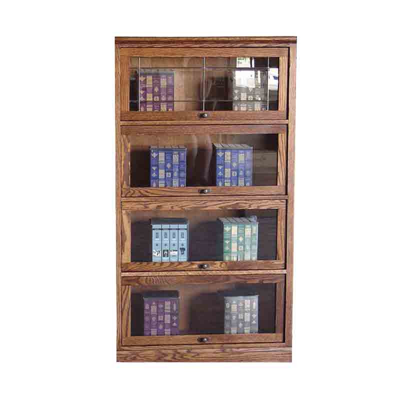 "FD-6364M - Mission Oak Lawyers Bookcase with 4 Doors - 36"" w x 13"" d x 64"" h - Oak For Less® Furniture"