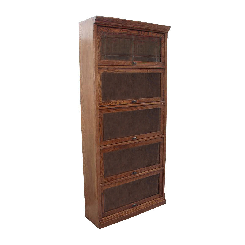 "FD-6379M - Mission Oak Lawyers Bookcase with 5 Doors - 36"" w x 13"" d x 79"" h - Oak For Less® Furniture"