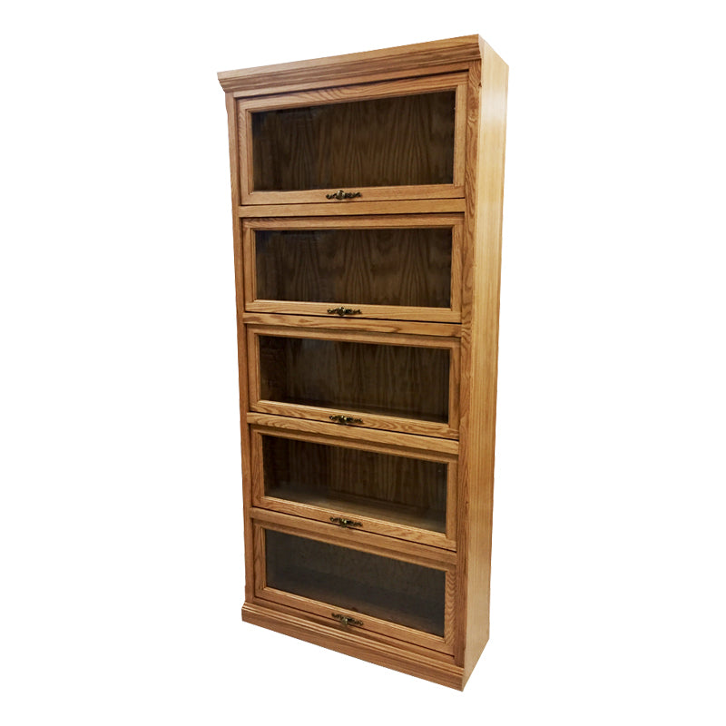 "FD-6379T - Traditional Oak Lawyers Bookcase with 5 Doors - 36"" w x 13"" d x 79"" h - Oak For Less® Furniture"