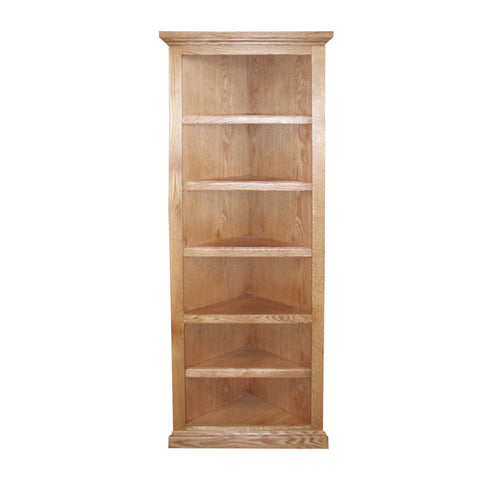 "FD-6704T - Traditional Oak Corner Bookcase 20"" x 20"" x 72"" h - Oak For Less® Furniture"