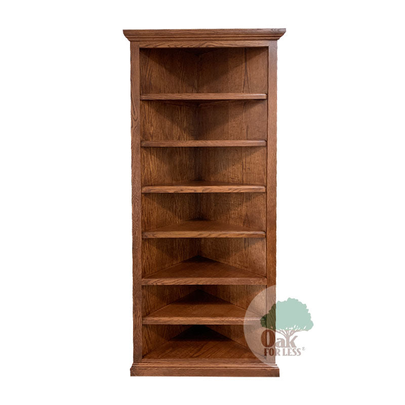 "FD-6714T - Traditional Oak Corner Bookcase 72"" h - Oak For Less® Furniture"