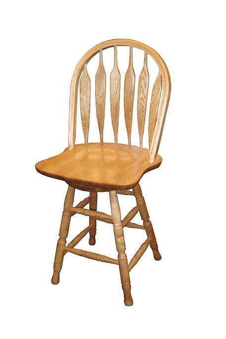 "GS-CL102W24S5 - Classic Oak Monarch Bent Arrowback Swivel Barstool 24"" h - Oak For Less® Furniture"