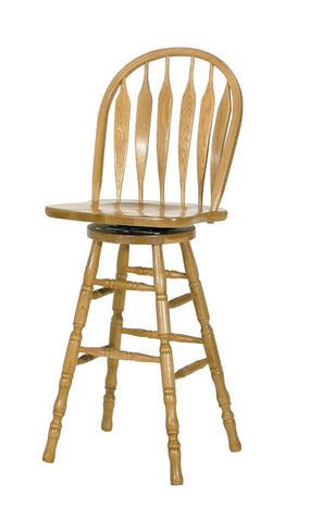 "GS-CL102W30S5 - Classic Oak Monarch Bent Arrowback Swivel Barstool 30"" h - Oak For Less® Furniture"
