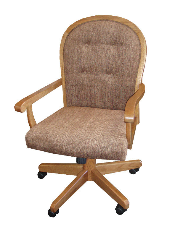 GS-CL106F04C - Classic Oak Dining Chair with Casters - Oak For Less® Furniture