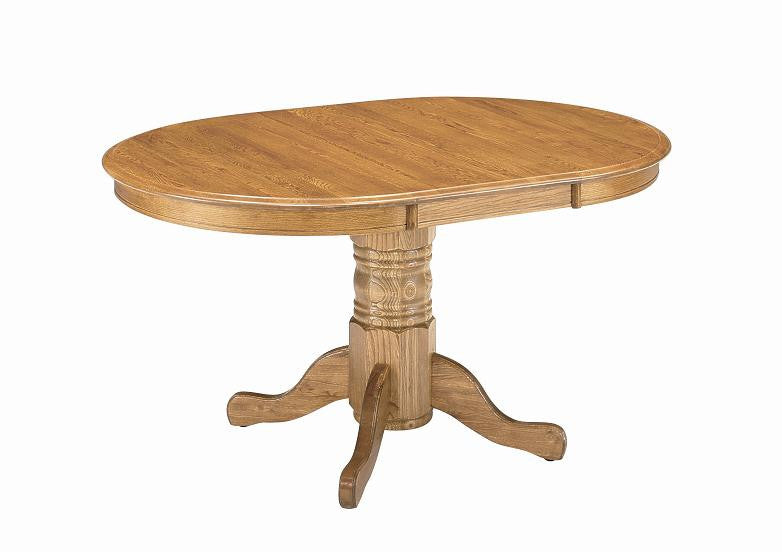 "GS-CL2T426011-CL2B426011 - 42"" x 42/60"" Classic Solid Oak Round/Oval Table - Oak For Less® Furniture"