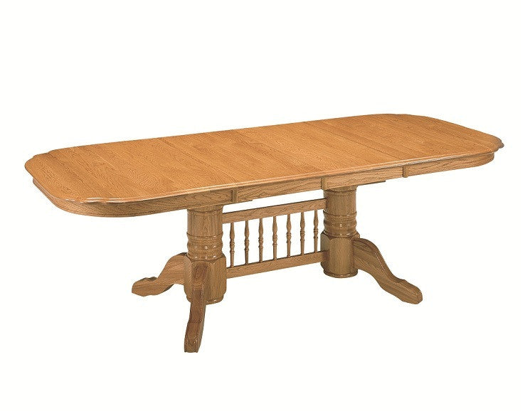 "GS-CL2T429631-CL2B429631 - 42"" x 60/78/96"" Classic Solid Oak Rectangular Trestle Table - Oak For Less® Furniture"