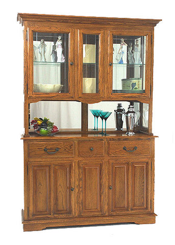 "GS-CL35646H1 and GS-CL35436B1 - 56"" Premier Hutch and Buffet - Oak For Less® Furniture"