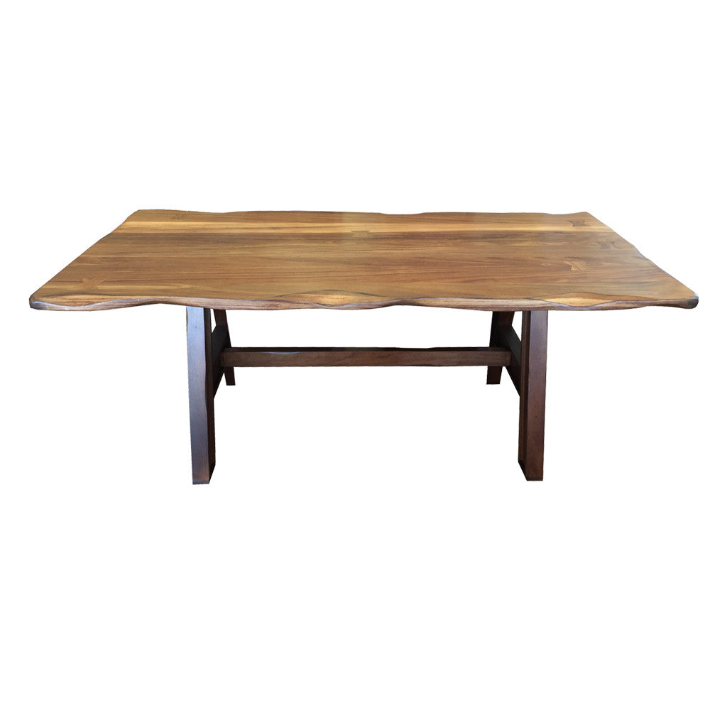 IFD-866TABLE-868BASE - 79 x 39 Solid Parota Wood Dining Table with 'Live Edge' Top and Wood Base - Oak For Less® Furniture