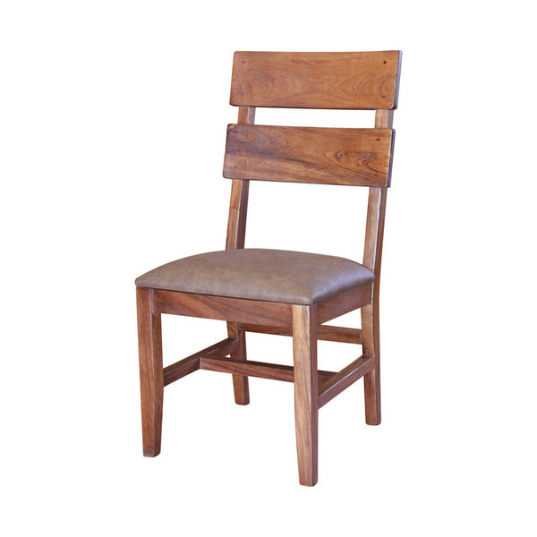 IFD-866CHAIR-S - Parota Solid Wood Ladder Back Chair with Faux Leather Cushion Seat - Oak For Less® Furniture