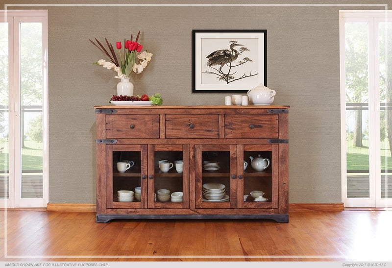 "IFD-866CONS - Parota Collection 70"" Solid Wood Console with 'Live Edge' Top - Oak For Less® Furniture"
