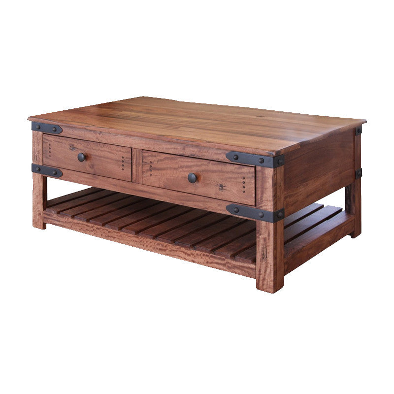 Parota Solid Wood Cocktail Table Rustic Brown Coffee Table