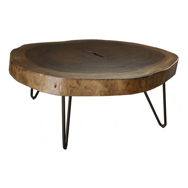IFD-880CKTL - Solid Parota Live Edge Slab LARGE Cocktail Table - Clear Finish - Oak For Less® Furniture