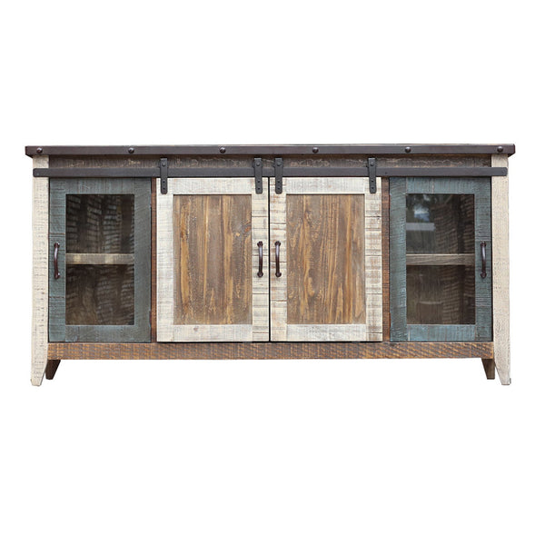 "IFD-962STAND-70 - Antique Collection Multicolor 70"" TV Stand - Oak For Less® Furniture"