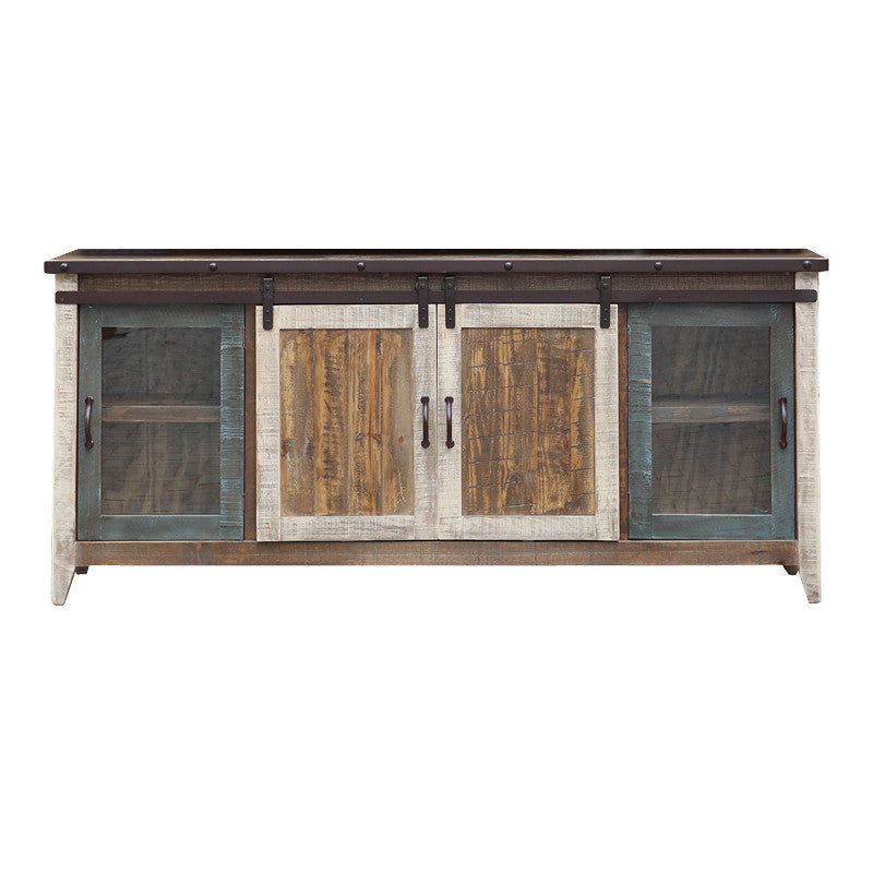 "IFD-962STAND-80 - Antique Collection Multicolor 80"" TV Stand - Oak For Less® Furniture"