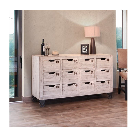 IFD-965CONS12-W - Antique White Collection Solid Wood 12 Drawer Console - Oak For Less® Furniture