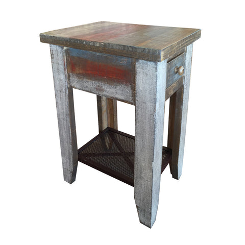 IFD-968CST - Antique Collection Chairside Table with 1 Drawer and Iron Shelf - Oak For Less® Furniture