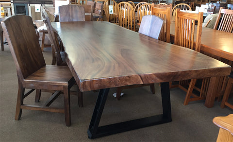 "Solid Parota Slab Dining Set on Clearance - 91"" x 36"" Solid Parota Slab Table and 4 Side Chairs ** SOLD **"