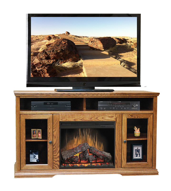 "LG-CP5304 - Colonial Place 59"" Fireplace TV Stand - Oak For Less® Furniture"