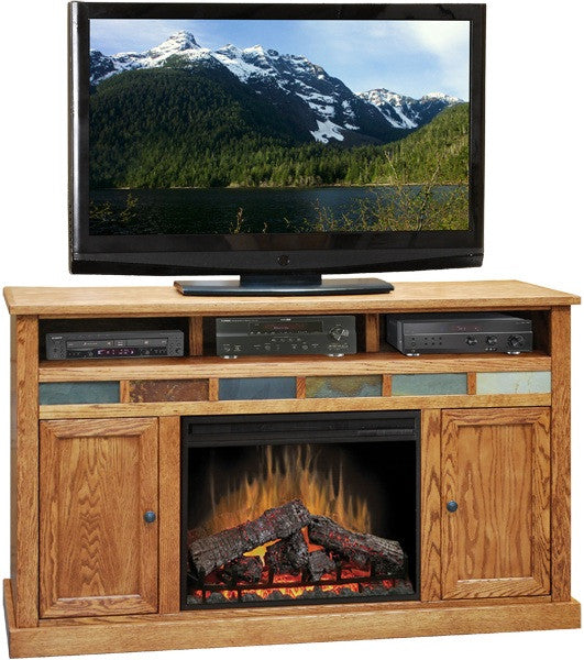 "LG-OC5101 - Oak Creek 62"" Fireplace TV Stand - Oak For Less® Furniture"
