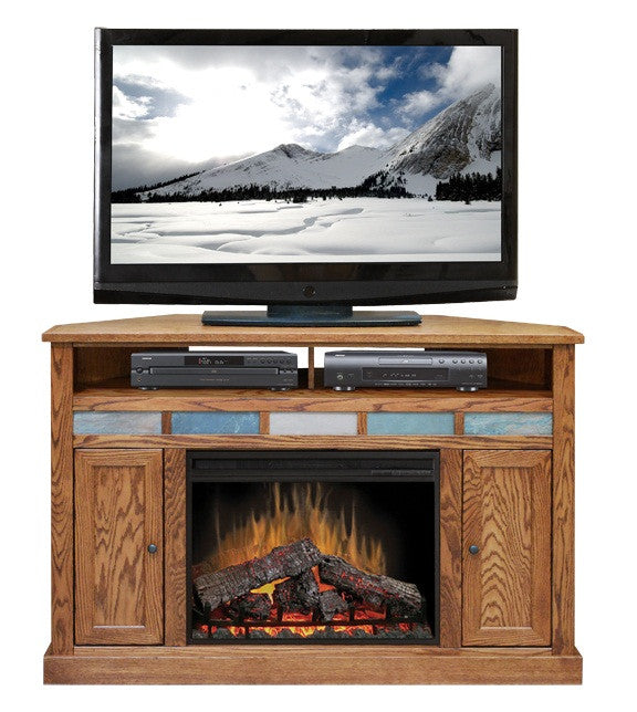 "LG-OC5102 - Oak Creek 56"" Fireplace Corner TV Stand - Oak For Less® Furniture"